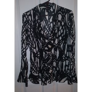 Style & Co long sleeve ruffled front blouse size14
